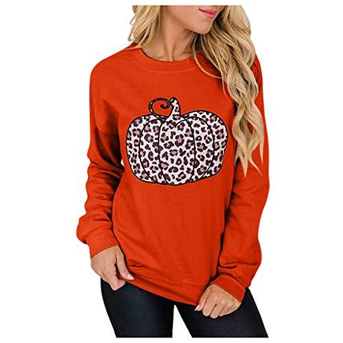 Meikosks Leopard Pumpkin Tops Womens Long Sleeve Round Neck Sweatshirts Casual Pullover Orange