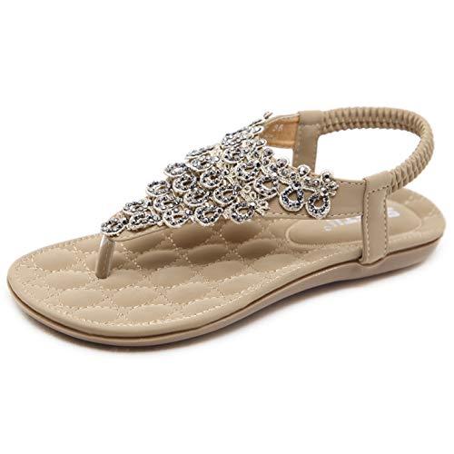 Sandalen Damen Sommer Flach Fashion Elegant Strand Sandaletten mit Glitzer Strass Frauen Boho Gummizug Zehentrenner Schuhe Beige Gr.39