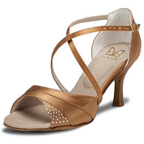 JIA JIA 20522 Damen Sandalen Ausgestelltes Heel Super-Satin Latein Strass Tanzschuhe Farbe Braun,Größe 39 EU