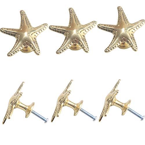 Kyien 6Pcs Starfish Cabinet Knobs Nautical Beach Hardware Sea Themed Knobs Kitchen Bathroom Seaside Cottage Decorative Furniture Drawer Knobs Dresser Handles Cabinet Decoration Pulls