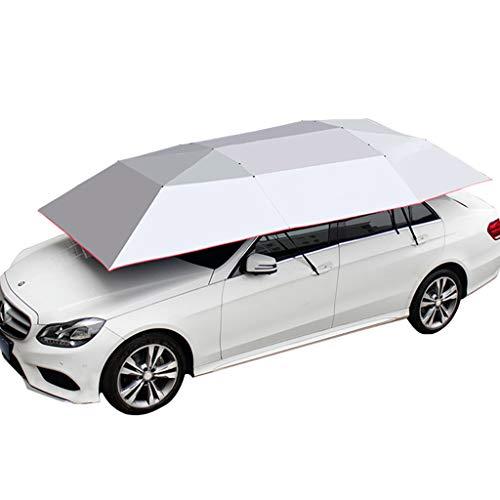 JIN 4-seizoenen Universele Semi-automatische Opgevouwen Auto Tent Cover Carport, Auto Paraplu Tent Auto Zonnescherm met Anti-UV Water-Proof Wind Sneeuw Storm Hail (13.45X7.38 ft Handleiding)