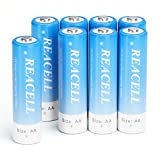 REACELL Pack of 8 Rechargeable AA Batteries 2800mAh Precharged Ni-MH Double AA Rechargeable Batteries