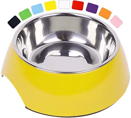 Fressnapf, Melamin-Napf 160 ml, 350 ml, 700 ml verschiedene Farben: Melamin-Napf, Edelstahl-Napf, Futternapf, robust, spuelmaschinenfest, stoss- und kratzfest, rutschfest, Edelstahlnapf herausnehmbar fuer Welpen, Hunde, Katzen by DDOXX Farbe Gelb, Größe 160 ml