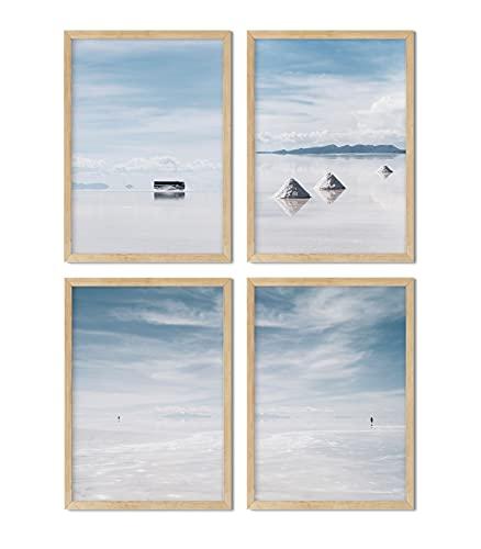 Set de 4 láminas decorativas para enmarcar. Paisaje tranquilo color azul. Fotos impresas en papel resistente. Sin marco.