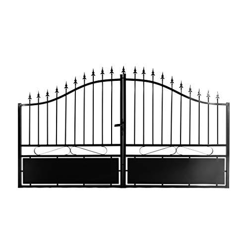 Gardenode Portail Double battant Jais Aluminium Noir - Passage 4m