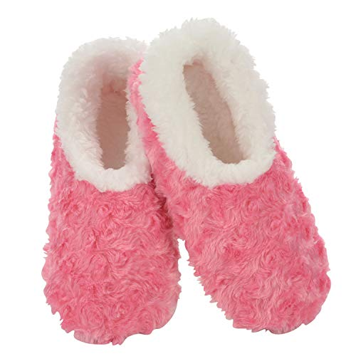 Snoozies Womens Slipper Socks - Cozy Slippers for Women - Fuzzy House Slippers for Indoor Use - Soft Sole Slippers - Roses in Bloom - Pink - Medium