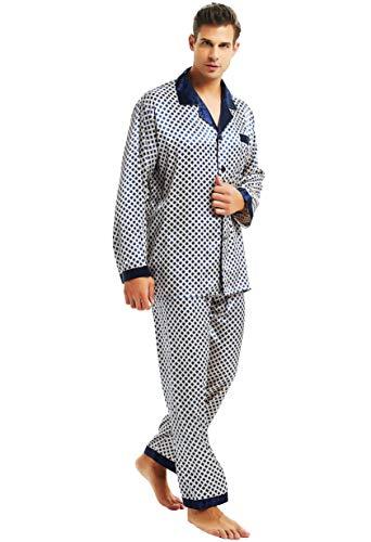 Herren Seide Schlafanzug Pyjama Homewear Blue Dot X-Large