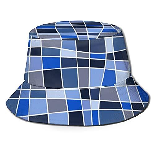 Yearinspace The Hat - Cubo de viaje unisex para playa, sombrero de pescador, mosaico trenzado, curvas abstractas, tonos de azul