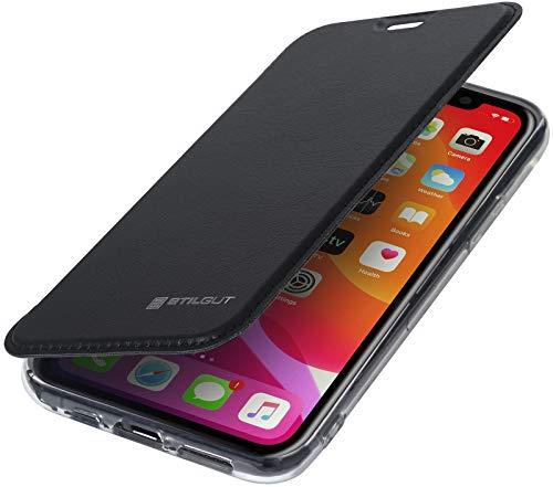StilGut Hülle entwickelt für iPhone 11 Pro Hülle mit RFID Blocker - iPhone 11 Pro Hülle mit RFID/NFC Schutz + Kartenfach aus Leder und TPU, schwarz/transparent