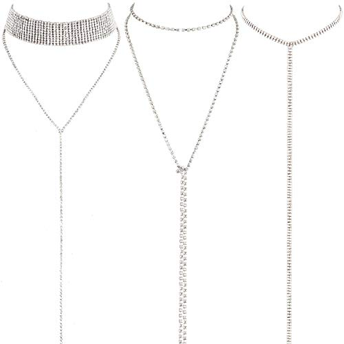 3 Pieces Layered Necklace Layered Choker Necklace Double Rhinestones Crystal Fashion Multilayered Long Choker Necklaces Rhinestone Jewelry Necklace Chains for Women and Girls (Silver)