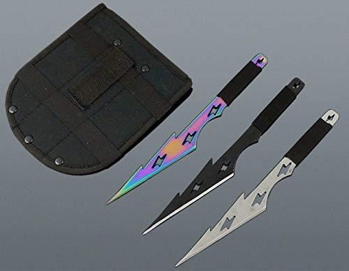 KOSxBO® 3er Thors Storm Wurfmesser Profi Kunai ca. 21 cm - Throwing Knife - schnelles Werfen Messer Black Silver Rainbow Edelstahl - Trainingsmesser - Gürtelmesser - Wurfmesser Set inkl. Etui