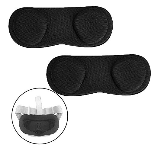 VR Lens Protect Cover for Oculus Quest 2, Dust Proof,Anti Scratch,Washable Lens Protective Cap,Protective Sleeve for Virtual Reality Accessories - Black(2Pcs)