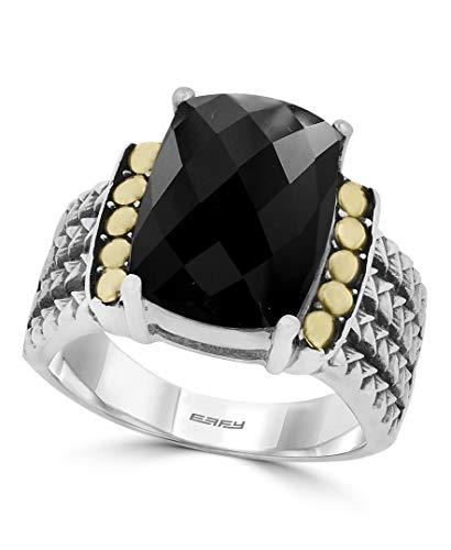 Effy 925 Sterling Silver & 18K Yellow Gold Onyx Ring, 6 TCW IRL0H379XX