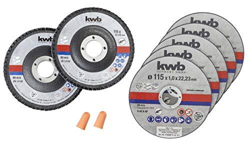 kwb 712051 - Disco da taglio sottile + smerigliatrice angolare 115 mm, disco flessibile per acciaio inox in scatola con tappi per le orecchie ABM. 115 x 1,0 x 22,23