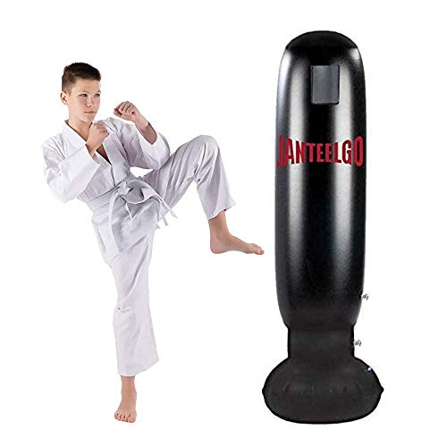 JanTeelGO Sacco da Boxe da Terra, Sacchi da Boxe 160cm in Piedi per Un Rimbalzo immediato per praticare Karate, Taekwondo e alleviare l'energia repressa nei Bambini (Nero-D)