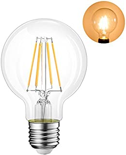 G80 LED Globe Filament Bulb, Equivalent to 60W Incandescent Bulb, E27 Edison Screw Light Bulb, 650Lm, 2700K Warm White