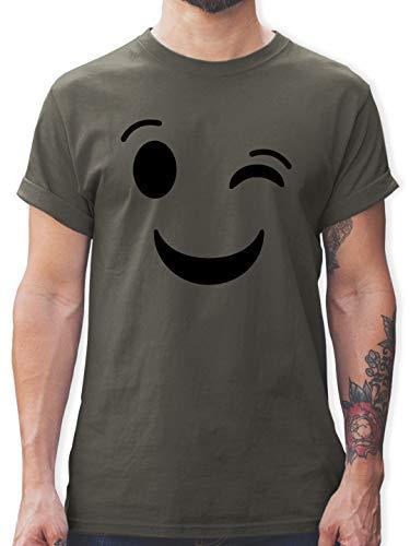 Karneval & Fasching - Zwinker Emoticon Karneval - M - Dunkelgrau - lustiges Herren t-Shirt - L190 - Tshirt Herren und Männer T-Shirts