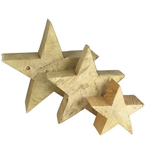 Holzstern Akazienholz, handgefertigt, 28 x 28 cm x 11 cm stark - besonders standfest – weihnachtliche Holzfigur, natürliche Dekoration für Innen und Außen