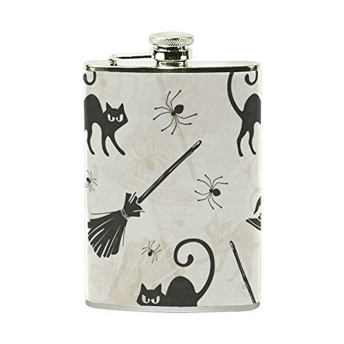 TIZORAX Halloween katten bezems en heksen hoeden roestvrij staal Hip Flask, Pocket Flagon,Camping wijnpot, cadeau voor mannen of vrouwen, 8 Oz