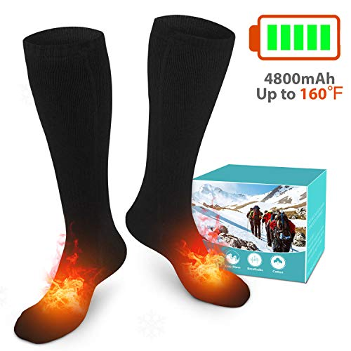 XBUTY Heated Socks for Men/Women - Upgraded Rechargeable Electric Socks with 4800mAh Large Capacity...