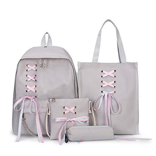 Gofodn Schulranzen für Mädchen Teenager Frauen Rucksack Handtasche Crossbody Taschen Canvas Federmäppchen 4-teilig, Rot - grau - Größe: XL