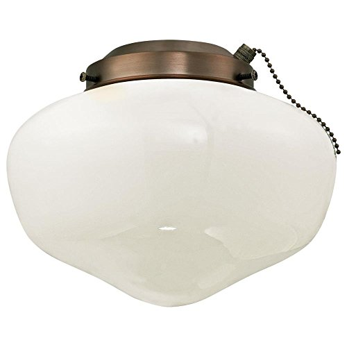 Westinghouse 7781700 Schoolhouse Indoor/Outdoor Ceiling Fan Light Kit, Oil Brushed Bronze with White Opal Glass Shade