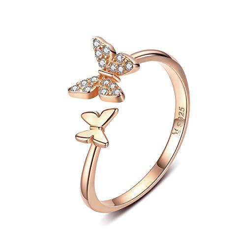 Srebro Sterling uroczy motyl otwarte pierścionki dla kobiet dziewcząt regulowany kamień urodzenia kryształ drobne zwierzę oświadczenie obietnica zaręczyny obrączka ślubna Eternity Band różowe złoto