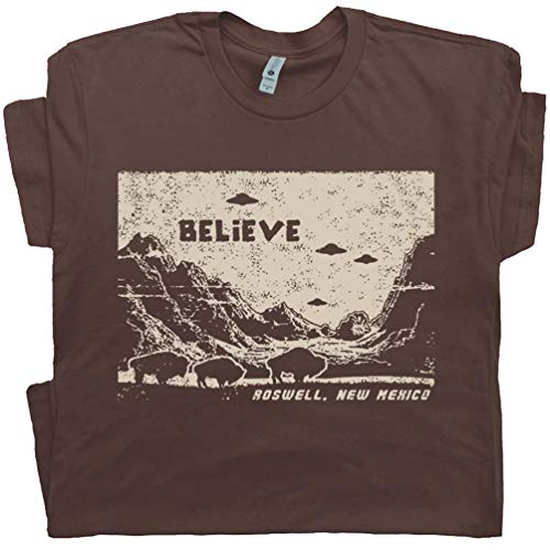 L - UFO T Shirt Alien Believe Roswell Tee X Files Abduction Area 51 Graphic Flying Saucer Science Fiction Brown