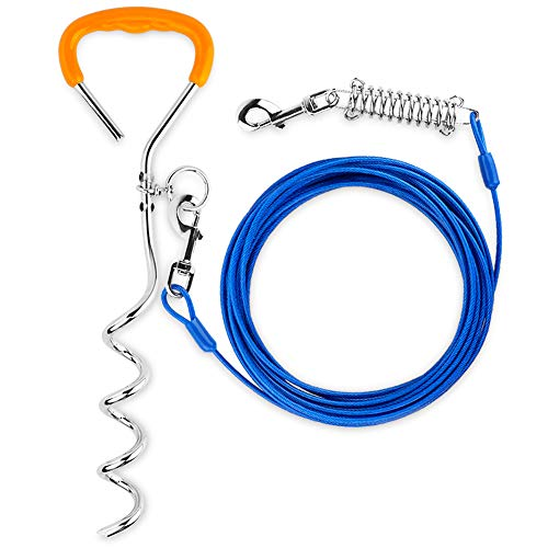 Petbobi 30 Feet Tie Out Cable Chew- Proof for Dog Stake with Durable Spring Rust- Proof Training...