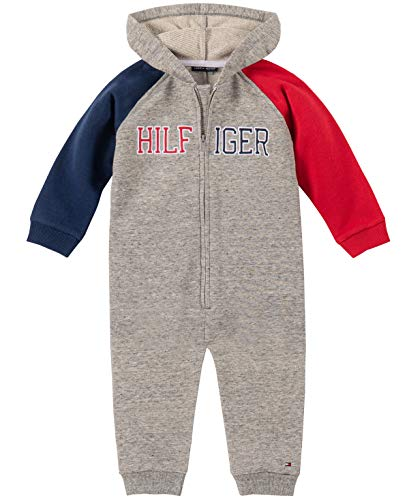 Tommy Hilfiger Baby Boys Coverall, Gray/Red/Navy, 3-6 Months