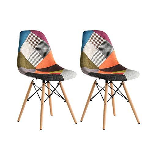 MIFI Patchwork Stuhl Set 2 Esstischstuhl Eiffel Chair Gepolsterter Stuhl in modernem Design für Zuhause oder Büro (Mehrfarbig)