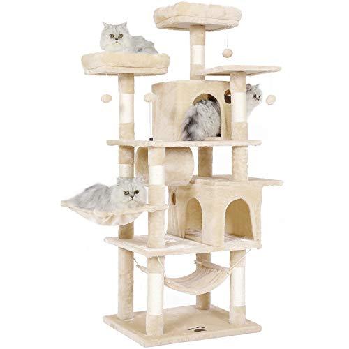 MSmask Kratzbaum groß, 164cm Kratzbaum für Gross Katzen, große Bodenplatte, kratzbaum Grosse Katzen stabil mit Sisal-Kratzstangen Höhlen, Hängematte, Plüschball (Beige)