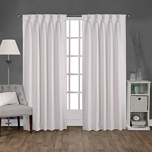 "Exclusive Home Curtains EH8243-01 2-84P Sateen Twill Woven Blackout Pinch Pleat Curtain Panel Pair, 84"" Length, Vanilla, 2 Count"