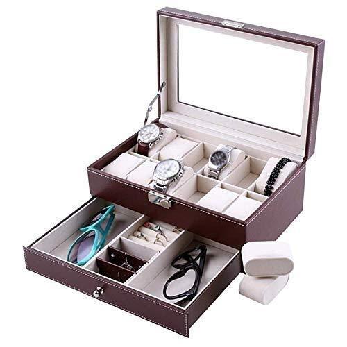 2-Layer Men's/Women's Watch Box Glass Cover 20-Slot Jewelry Display Storage Box Bracelet Tray