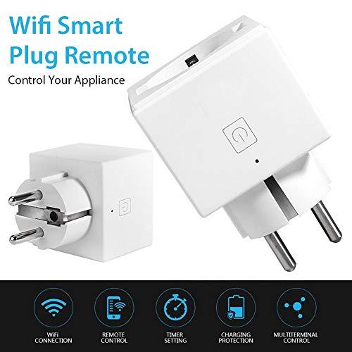 Enchufe Inteligente, Mini WiFi Outlet Enchufe Inalámbrico Smart Outlet Control Remoto Enchufes Inteligentes Para El Hogar Compatibles Con Alexa Y Google Home, WiFi Enchufe Con Función De Temporizador