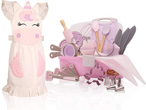 Unicorn Kids Baking Set with storage case, real working utensils, cookie cutters, and baking supplies, beautiful unicorn apron for kids. Baker Buddy