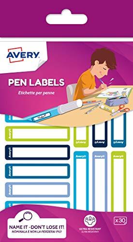 Avery Italia RESMI30G-UK Etichette per penne blu/verde, 50x10mm, 30et