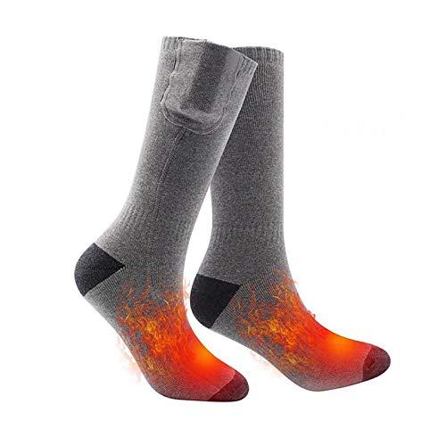 Calcetines calentados actualizados para hombres y mujeres, recargables, eléctricos, con pilas, para invierno, calentadores térmicos para camping, para ciclismo, senderismo, caza, esquí, color gris