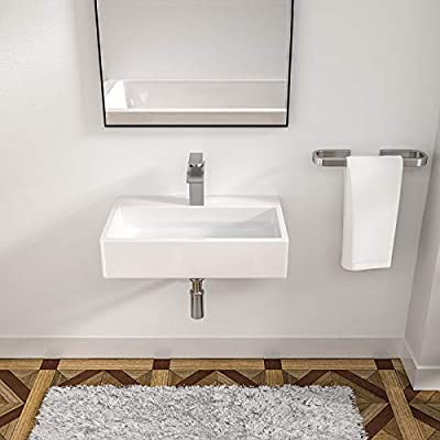 "Rectangle Bathroom Sink - Logmey 20""x14"" Bathroom Vessel Sink Rectangle Above Counter White Porcelain Ceramic Vessel Vanity Sink Art Basin with Faucet Hole"