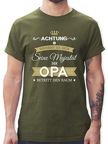 Opa - Seine Majestät der Opa - XL - Army Grün - t Shirt Vatertag - L190 - Tshirt Herren und Männer T-Shirts