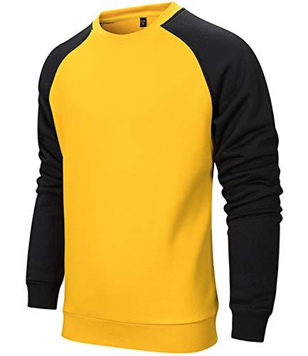 AOTORR Men's Athletic Sweatshirts Contrast Raglan Pullover Work Casual Sweatshirt Top Yellow#40 2XL