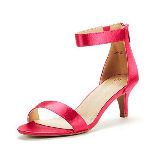 DREAM PAIRS Women's Fiona Fuchsia Satin Fashion Stilettos Open Toe Pump Heeled Sandals Size 6.5 B(M) US