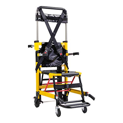 LINE2design Mobile Medical Evacuation Stair Chair 70007-Y Premium Emergency Transport Manual Track Stair Chair - Load Capacity: 400 lb. Yellow