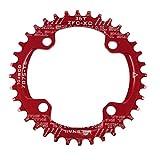 Newgoal BCD104 eslabón de Cadena Simple Estrecho y Ancho, Plato de manivela, Corona Ancha y Estrecha, 32T / 34T / 36, Piezas de reparación para Exteriores de Bicicleta de montaña, Rojo 36T