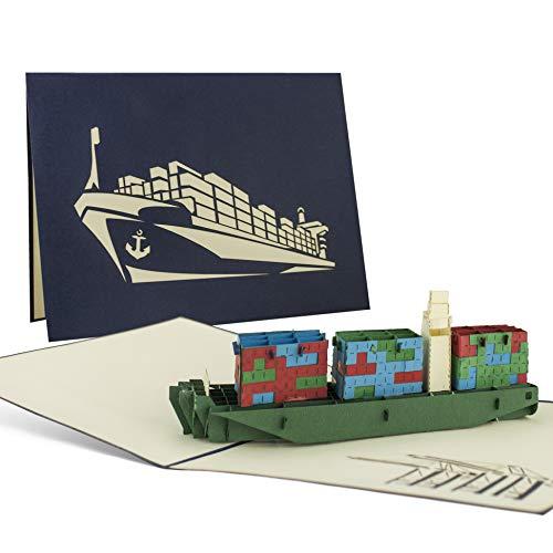 Containerschiff, Pop-Up Karte, Glückwunschkarte oder ein Gutschein mit dem Hafen-Motiv, Sammelkarte, B10