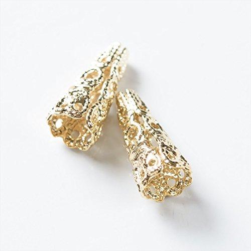 紗や工房 タッセルキャップ 透かしデザイン 円錐 7.5mm ゴールド 2個 2ヶ ハンドメイド アクセサリーパーツ