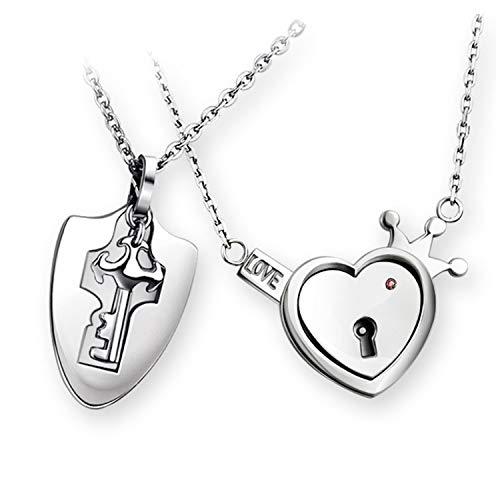 Cadena de plata con cerradura para parejas, hombre, mujer, llaves, colgante de corazón, 2 unidades, acero inoxidable plateado, amantes, cadenas de amistad, regalos de Navidad