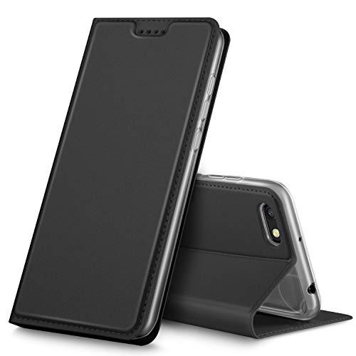 GeeMai Xiaomi Redmi 6A Hülle, Premium Xiaomi Redmi 6A Leder Hülle Flip Hülle Tasche Cover Hüllen mit Magnetverschluss [Standfunktion] Schutzhülle handyhüllen für Xiaomi Redmi 6A Smartphone, Schwarz