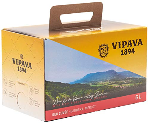 Vipava 1894 Vino tinto Bolsa en caja de 5 litros de vino tinto Caja 5 L Cuvee red - Vino tinto Barbera/Merlot en caja de 5 litros