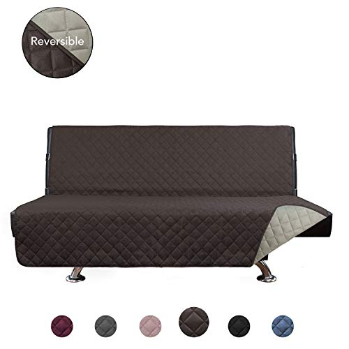 PureFit Reversible Quilted Armless Sofa Cover, Water Resistant Slipcover Furniture Protector, Washable Couch Cover with Adjustable Straps for Kids, Dogs, Pets (Futon, Chocolate/Beige)